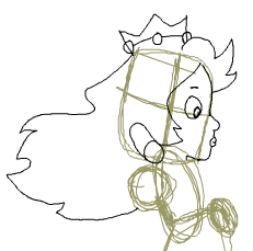 Step 10 : Drawing Princess Peach from Super Mario Bros Tutorial