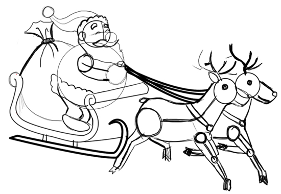 Step 10 : Drawing Santa Clause Reindeer Sleigh Flying Lesson