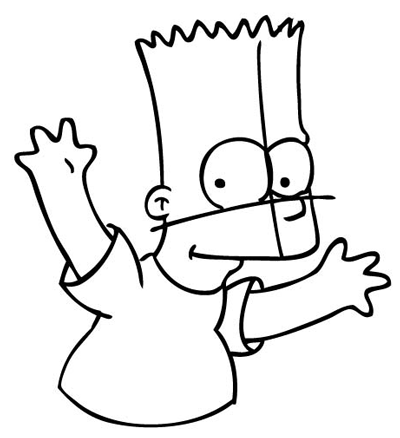 Step 10 : Drawing Bart Simpson from The Simpsons