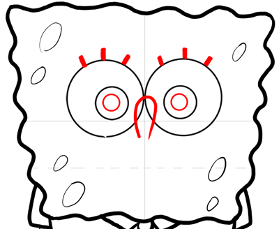 Step 10 : How to Draw Mischievous Spongebob Squarepants with the Giggles Lesson