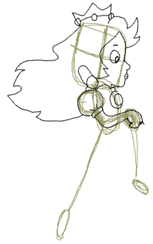 Step 11 : Drawing Princess Peach from Super Mario Bros Tutorial