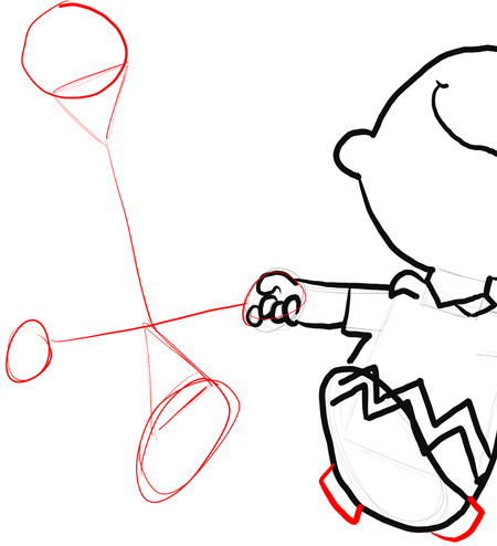 Step 11 : Drawing Charlie Brown and Snoopy Dancing Lesson