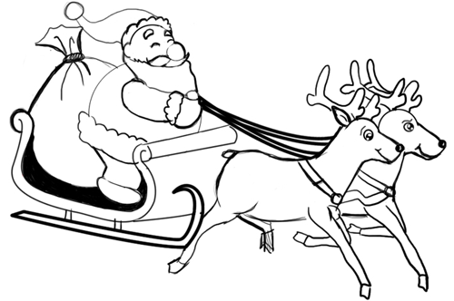 Step 11 : Drawing Santa Clause Reindeer Sleigh Flying Lesson