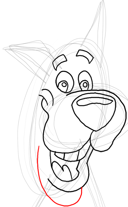 Step 11 : Drawing Scooby Doo Dog Easy Steps Lesson for Kids