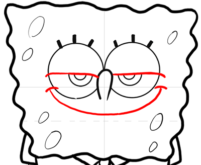 Step 11 : How to Draw Mischievous Spongebob Squarepants with the Giggles Lesson
