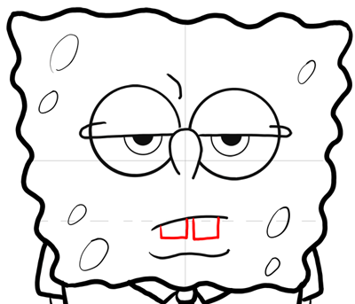 Step 12 : Drawing a Frowning Annoyed Spongebob Lesson for Kids2