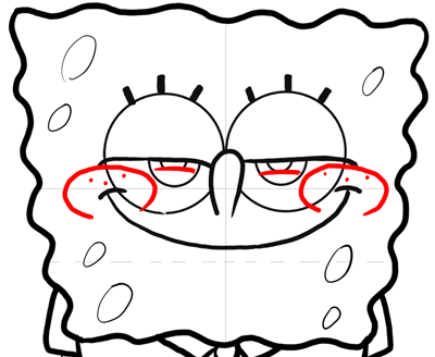 Step 12 : How to Draw Mischievous Spongebob Squarepants with the Giggles Lesson