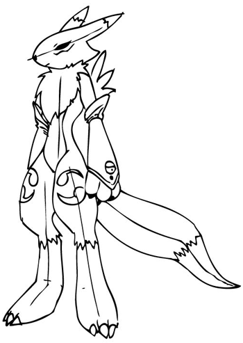 Step 13 Drawing Renamon from Digimon in Steps Drawing Lesson