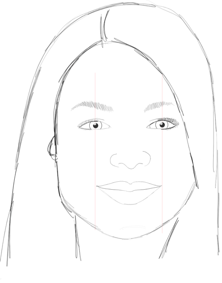 Step 14 : Drawing Carly Shay from Miranda Cosgrove with Easy Steps