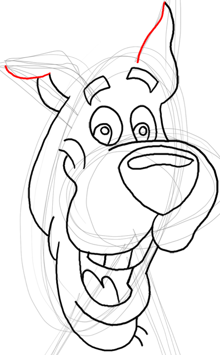 Step 14 : Drawing Scooby Doo Dog Easy Steps Lesson for Kids