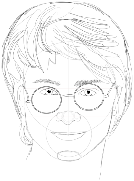 Step 15 : Drawing Harry Potter & Daniel Radcliffe with Easy Steps Tutorial