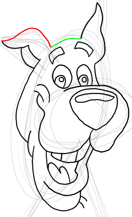 Step 15 : Drawing Scooby Doo Dog Easy Steps Lesson for Kids
