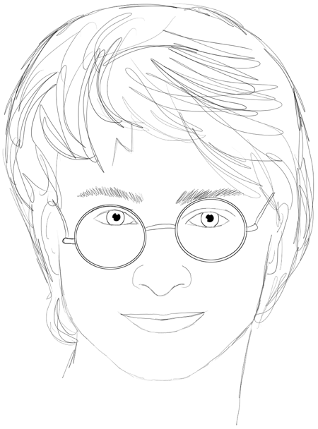 Step 16 : Drawing Harry Potter & Daniel Radcliffe with Easy Steps Tutorial