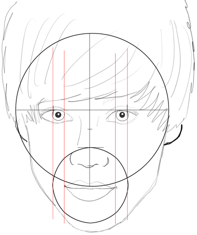 Step 16 : Drawing Justin Bieber with Easy Steps for Kids and Teens