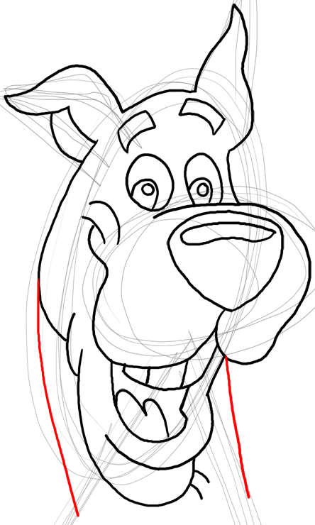 Step 16 : Drawing Scooby Doo Dog Easy Steps Lesson for Kids