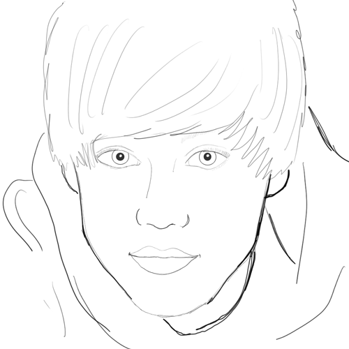Finished Black and White Picture of Justin Bieber Drawing