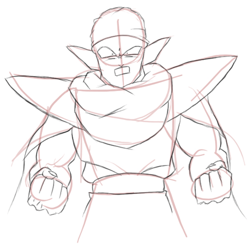 Step 3 : Drawing Piccolo from Dragon Ball Z Lesson for Kids