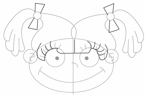 Step 3 : Drawing Angelica Pickles in Easy Steps Tutorial for Kids