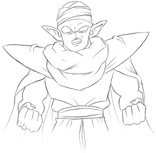 Step 4 : Drawing Piccolo from Dragon Ball Z Lesson for Kids