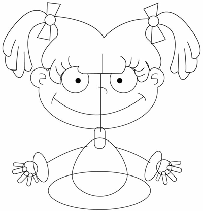 Step 4 : Drawing Angelica Pickles in Easy Steps Tutorial for Kids