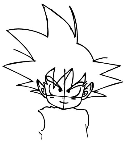 Step 4 : Drawing Son Goku as a Kid from Dragon Ball Z Lesson