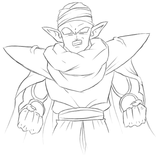 Step 5 : Drawing Piccolo from Dragon Ball Z Lesson for Kids