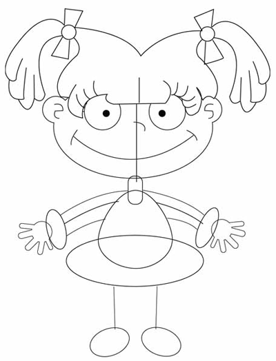 Step 5 : Drawing Angelica Pickles in Easy Steps Tutorial for Kids
