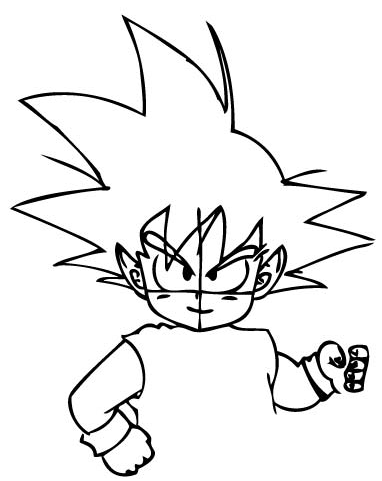 Step 5 : Drawing Son Goku as a Kid from Dragon Ball Z Lesson