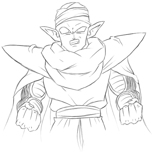 Step 6 : Drawing Piccolo from Dragon Ball Z Lesson for Kids