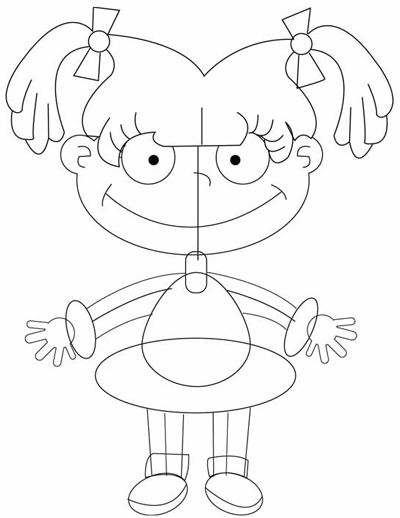 Step 6 : Drawing Angelica Pickles in Easy Steps Tutorial for Kids