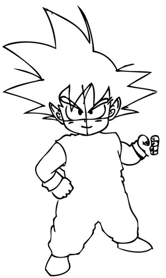 Step 6 : Drawing Son Goku as a Kid from Dragon Ball Z Lesson
