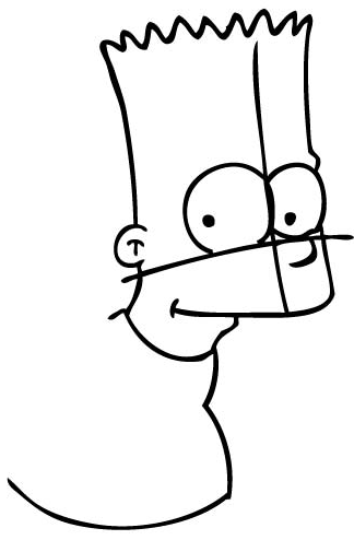 Step 7 : Drawing Bart Simpson from The Simpsons