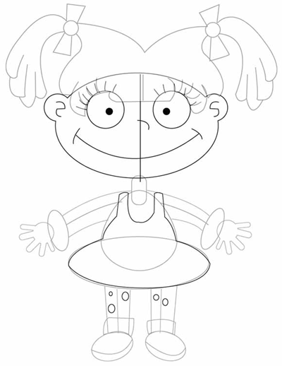 Step 7 : Drawing Angelica Pickles in Easy Steps Tutorial for Kids