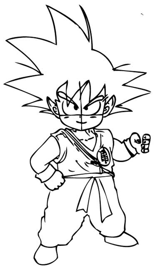 Step 7 : Drawing Son Goku as a Kid from Dragon Ball Z Lesson