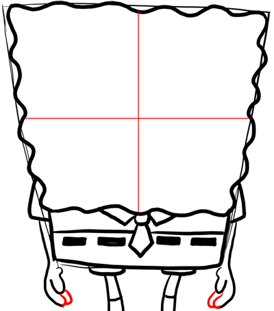 Step 7 : Drawing a Frowning Annoyed Spongebob Lesson for Kids