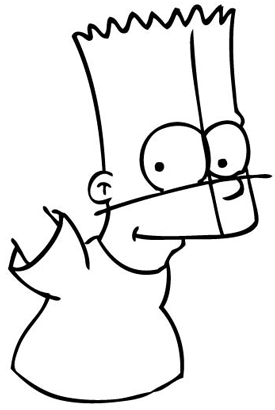 Step 8 : Drawing Bart Simpson from The Simpsons