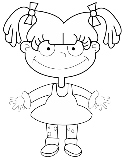Step 8 : Drawing Angelica Pickles in Easy Steps Tutorial for Kids