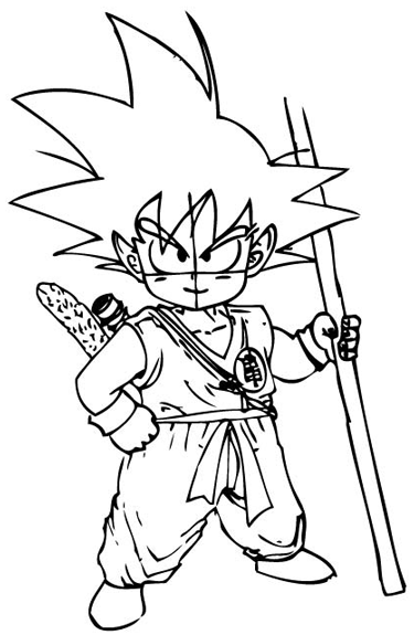 Step 8 : Drawing Son Goku as a Kid from Dragon Ball Z Lesson