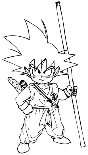 Step 9 : Drawing Son Goku as a Kid from Dragon Ball Z Lesson