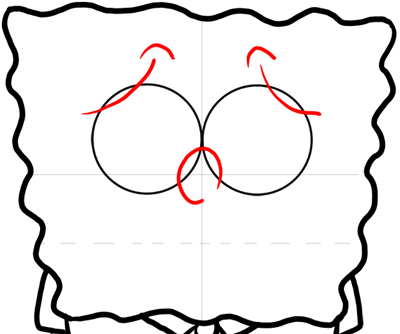 Step 9 : Drawing Terrified Spongebob Squarepants Easy Lesson for Kids