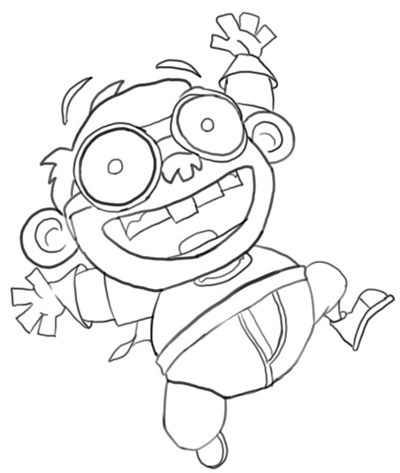 Step 7 : Drawing Chum Chum Step by Step Drawing Lesson