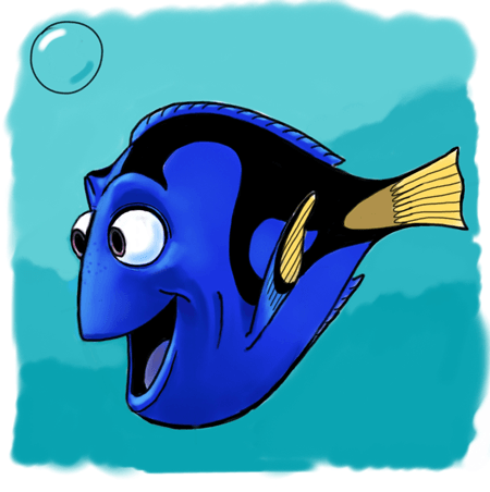 How to draw dory from pixars finding nemo in easy steps - Image doris nemo ...