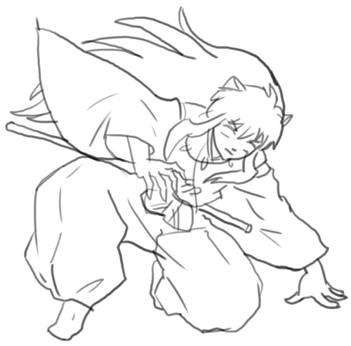 Step 6 : Drawing Inuyasha with Easy Step by Step Instructions
