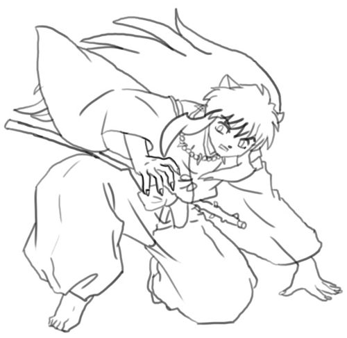 Step 7 : Drawing Inuyasha with Easy Step by Step Instructions