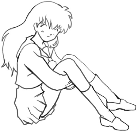 Step 6 How to Draw Kagome Higurashi from Inuyasha Anime Lesson
