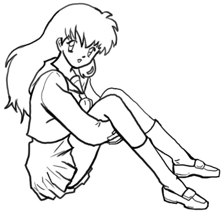 Step 7 How to Draw Kagome Higurashi from Inuyasha Anime Lesson