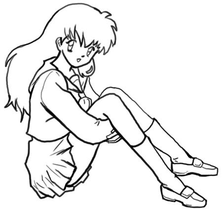 Step 7 How to Draw Kagome Higurashi from Inuyasha Anime Lesson