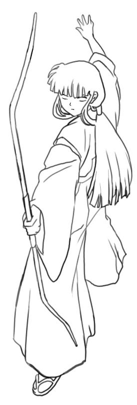 Step 6 How to Drawing Kikyo aka Kikyou from Inuyasha Drawing Lessons