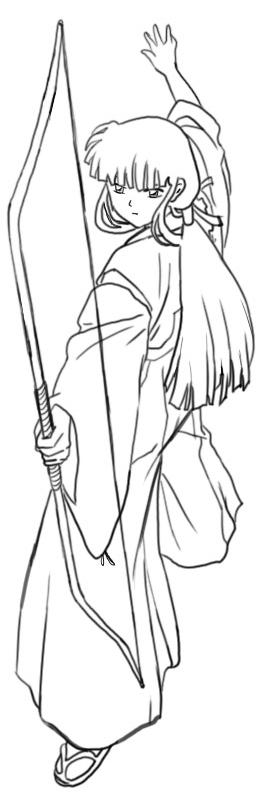Step 7 How to Drawing Kikyo aka Kikyou from Inuyasha Drawing Lessons