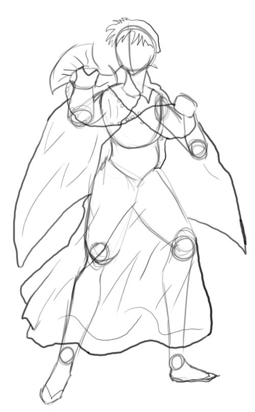 Step 5 : Drawing Miroku from Inuyasha with Manga Anime Lesson